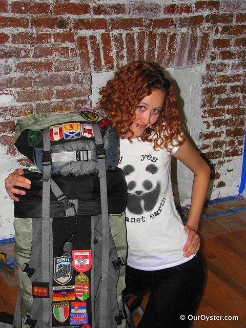 Photo of Jade with her backpack
