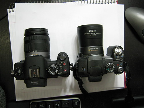 canon powershot s3 is vs panasonic lumix dmc-g2 - from above