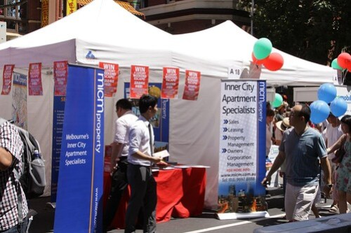 More property spruikers at the Melbourne Chinese New Year Festival