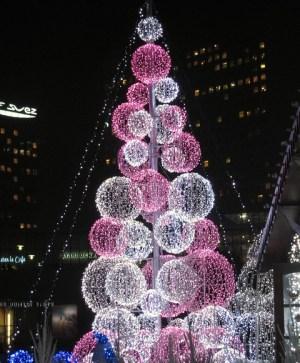 Innovative Christmas tree at Village de Noël, La Défense, Paris