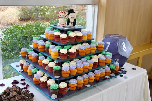 Cupcake tower, and D12 cardbox (DIY by the groom)