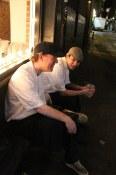 Cooks taking a Blood Alley smoke break