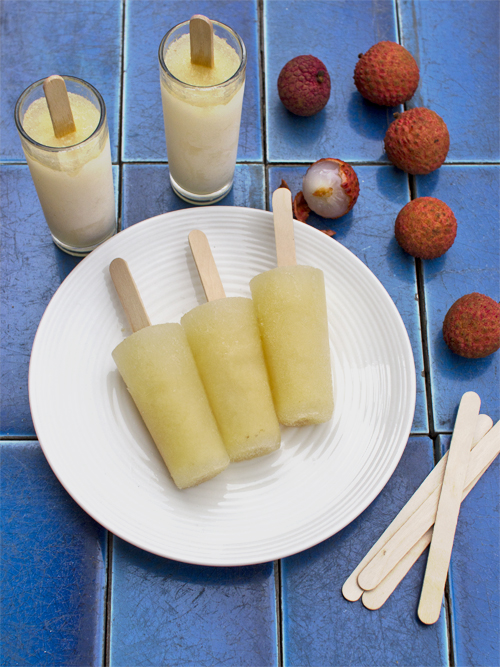 lychee and elderflower ice blocks