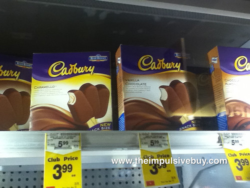 Blue Bunny Cadbury Ice Cream Bars on shelf