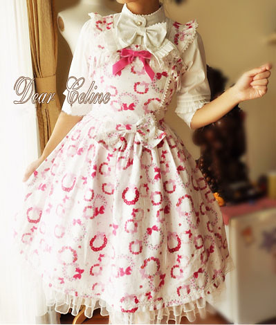 Dear Celine Fall Sweet Flower Print Bow Cotton Lolita Dress1