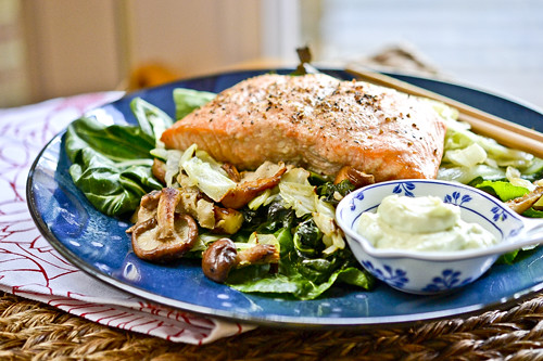 Wasabi Salmon with Bok Choy Green Cabbage and Shiitakes 4
