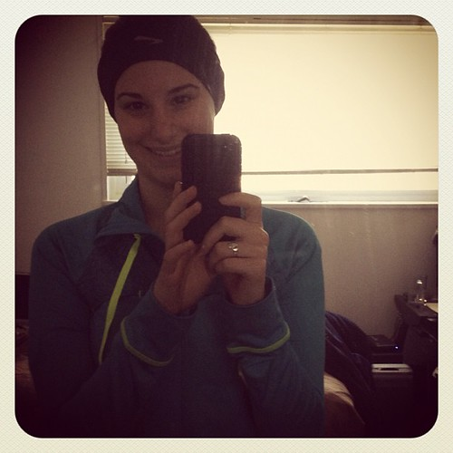Way overdressed for my long run. The weather was much warmer than expected.