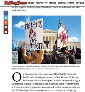 Spotted a familiar sign on Rolling Stone. Nice job The Anti-Choice Project: Washington DC!