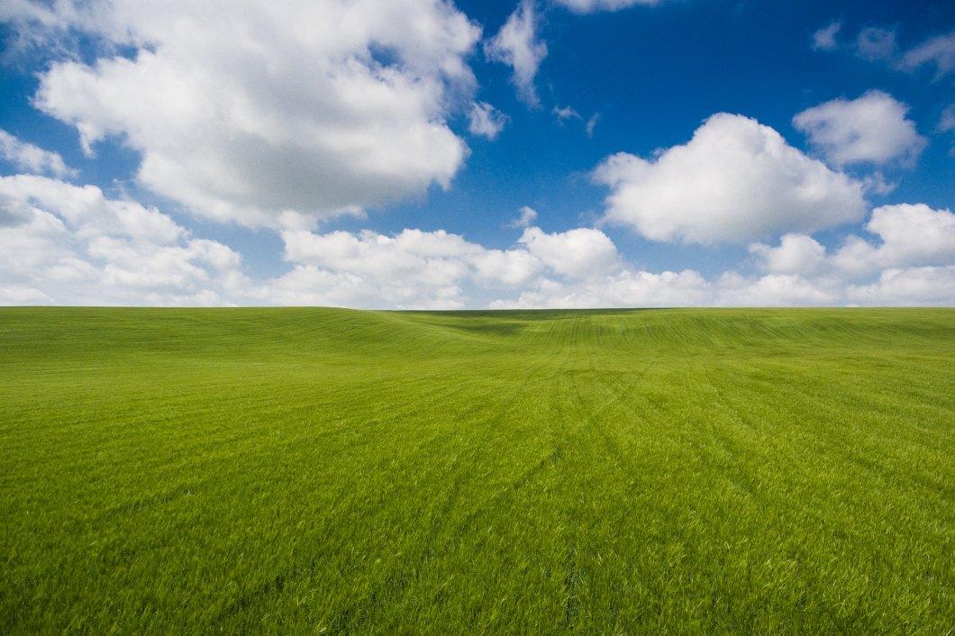 Imagen gratis de un campo verde con nubes en el cielo