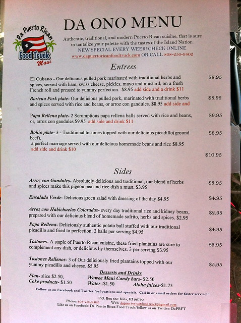 Puerto Rican Food Truck Menu