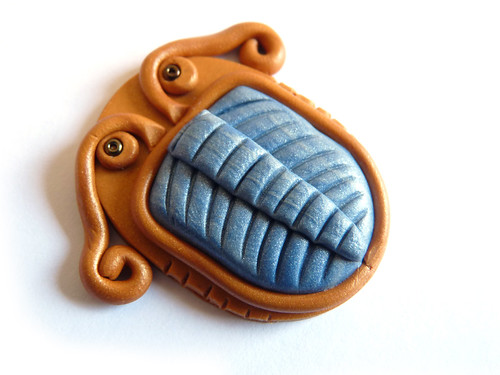trilobite pendant made out of sculpey and fimo polymer clay