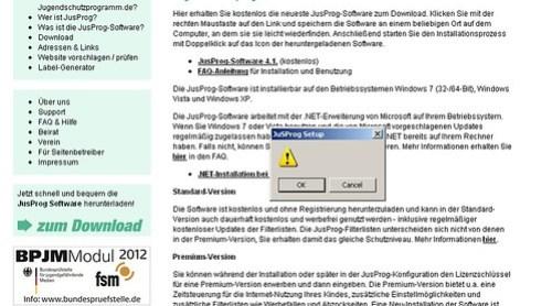 Screenshot jugenschutzprogramm.de Installation unbekannter Fehler