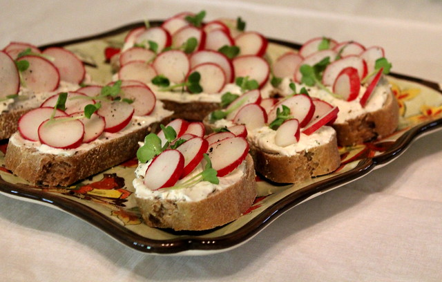 radishes and cheese sandwiches