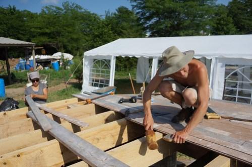 Timber frame house subfloor