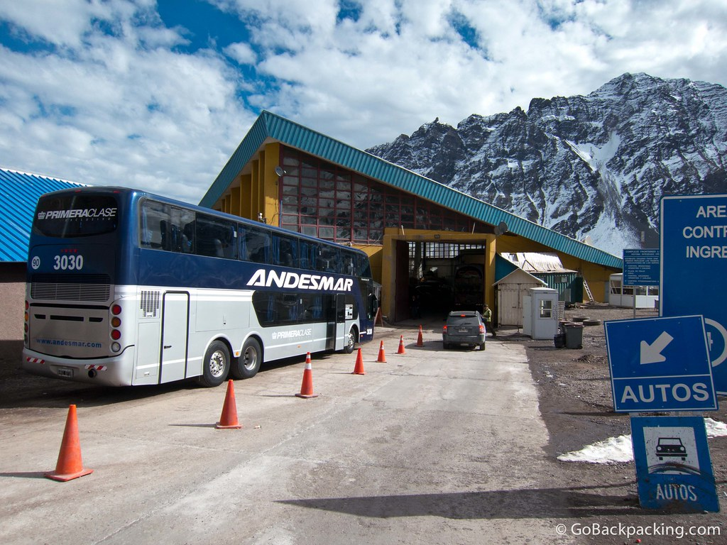 Our bus parked outside the Chilean immigration office, which has the distinct look of a ski chalet
