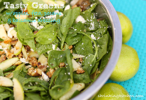 Tasty Greens with Apples, Feta, Pecans and Balsamic Dressing by Shrinking Kitchen