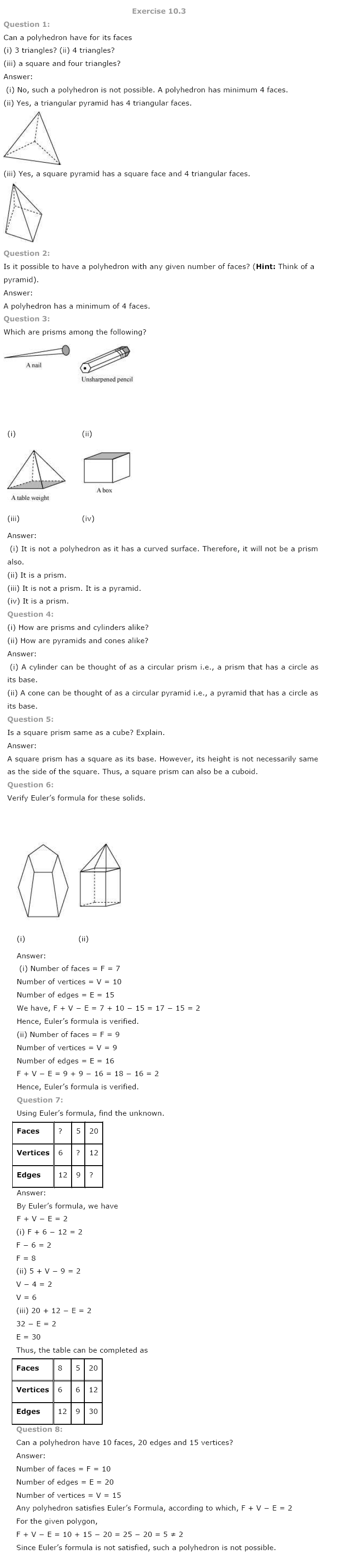 NCERT Solutions for Class 8th Maths Chapter 10 Visualising Solid Shapes Image by AglaSem