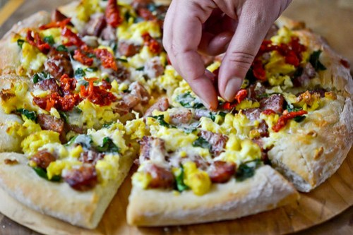 Smoked Sausage Breakfast Pizza-9