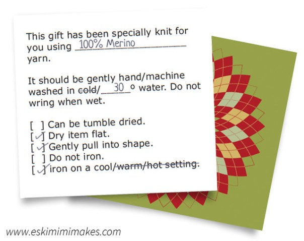 Gift tags for hand knits with washing instructions - argyle flowers