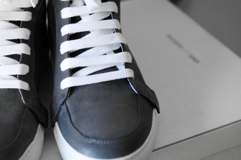 Tuukka13 - New Kris Van Assche High-Top Sneakers Grey Charcoal Leather with Zippers in Back -2