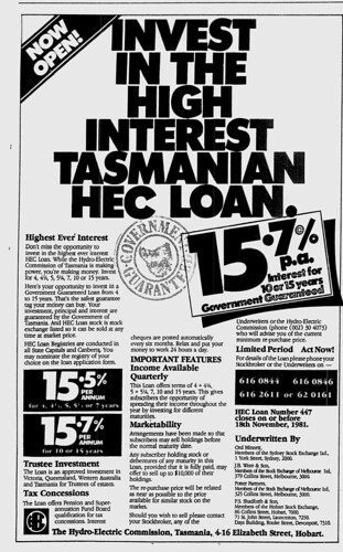 """Invest in the high interest Tasmanian HEC loan"""