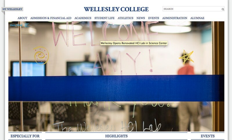 Wellesley.edu Daily Shot for HCI Lab Launch