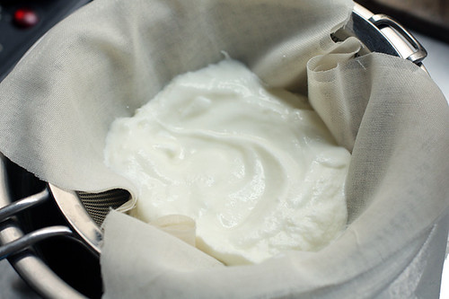 yogurt draining for labneh