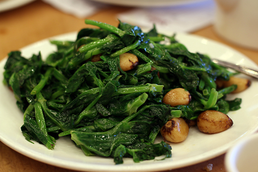 pea shoots and garlic at Saigon