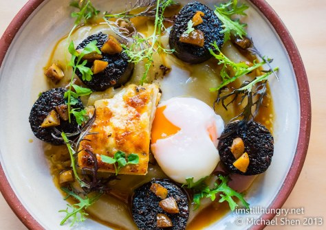 Breakfast of champion(s) - spanish blood sausage, chestnuts, celeriac gratin, apple puree & a 63C egg devon cafe