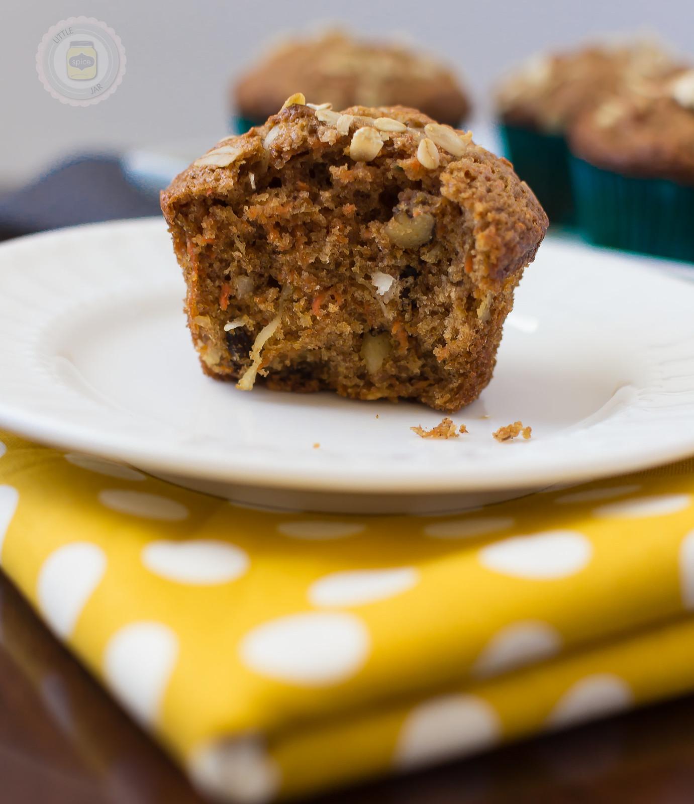 Super Moist and Healthy Carrot Cake Muffins Bite Taken