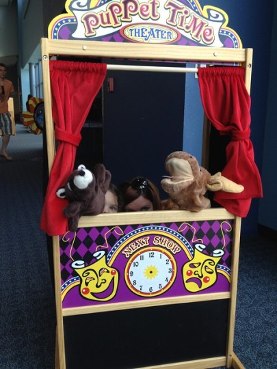 putting on a puppet show