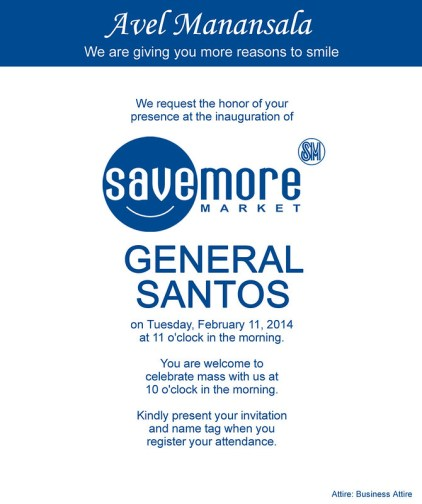 SM SAVEMORE GENSAN INVITATION