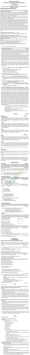 CBSE Sample Papers for Class 9 SA2 2014   English Lang. & Lit.