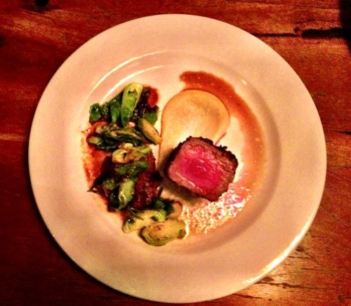Roasted peppered sirloin, beef blade, chickpea puree, sprouts, garlic & rosemary jus