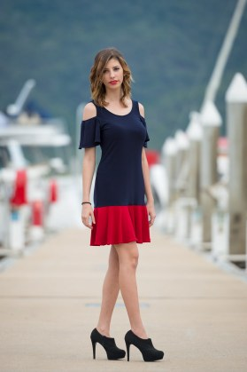 Mermaid Dress with flared cold shoulder sleeves | Nautical (Indigo and Red).