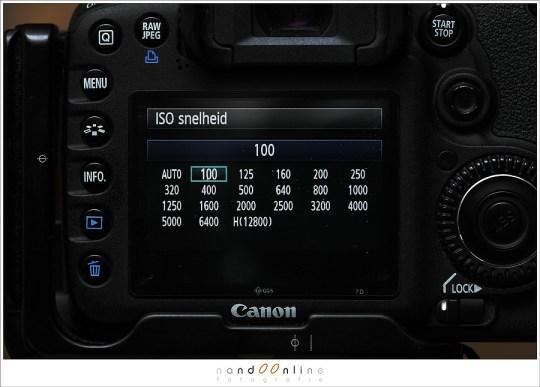 De ISO waarden van een EOS 7D in 'een derde' stops op het scherm. Een stop verzetten betekent 3 stappen maken.