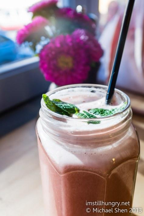 Watermelon lime & ginger juice w/mint leaves devon cafe