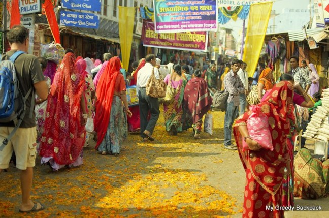 Colored streets of Pushkar after pilgrims had gone to Brahma Sarovar sprinkling marygold petals on the street...