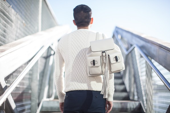 White Gucci backpack worn by Bryanboy