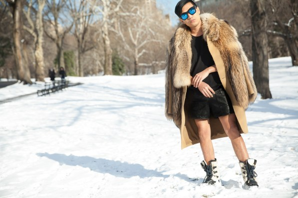 Bryanboy frolicking in the snow at Central Park, New York City