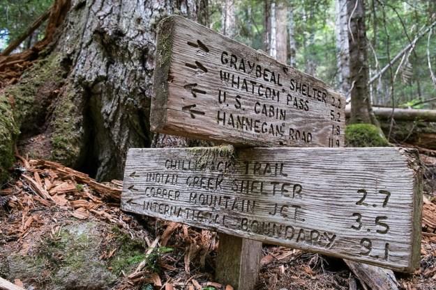 Trail sign. North Cascades