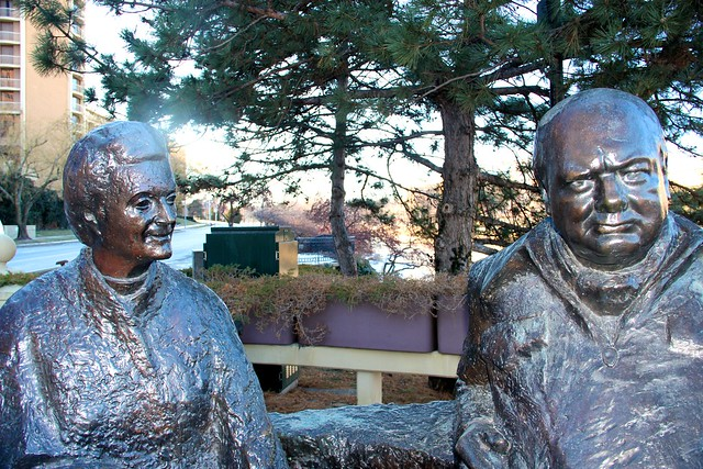 Sir Winston and Lady Churchill are preserved in Married Love by Oscar Nemon at Country Club Plaza, Kansas City, MO