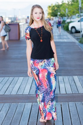 Lady Bird Top with Short Raglan Sleeves and Long Skirt | Sunset Jungle
