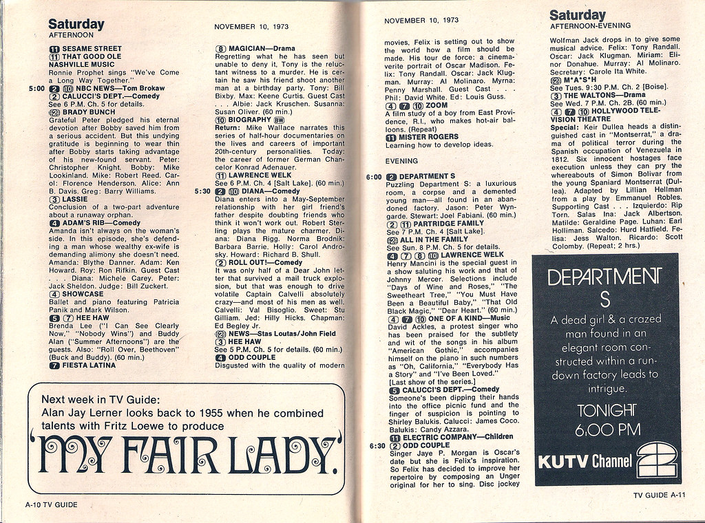 Retrospace  TV Guide  6 November 10 16  1973 They used to play British shows  like Department S  at odd hours in the  1970s  Also this afternoon  Mancini is on Lawrence Welk and Peter Brady is  Bobby s