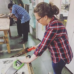 #Repost @rajchaudhuri  ・・・ #Saturday #work with #hands @makersasylum #woodworking #woodcarving #create #fun #creative @ispavendonn #weekendfun #weekend #design #learn