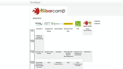 BarCamp Bonn: Sessionplan im Timetabler