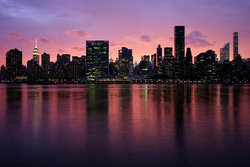Manhattan sunset skyline seen from Long Island City