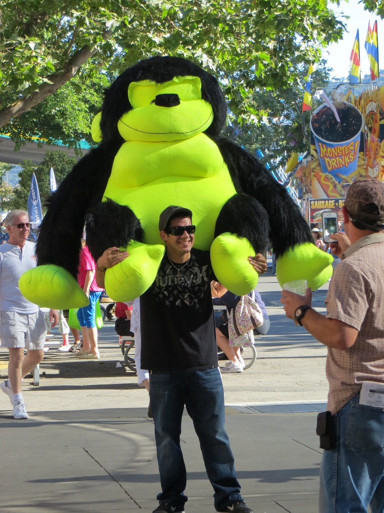 Alameda County Fair: Guy with a Giant Neon Gorilla Prize