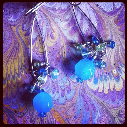 Chalcedony earrings made for me by Jenny Laird in honor of #outofthemouthsofbabesevents I am buoyed by love today. XoS
