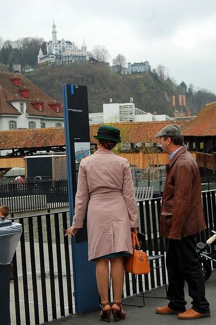 European lady wearing a hat